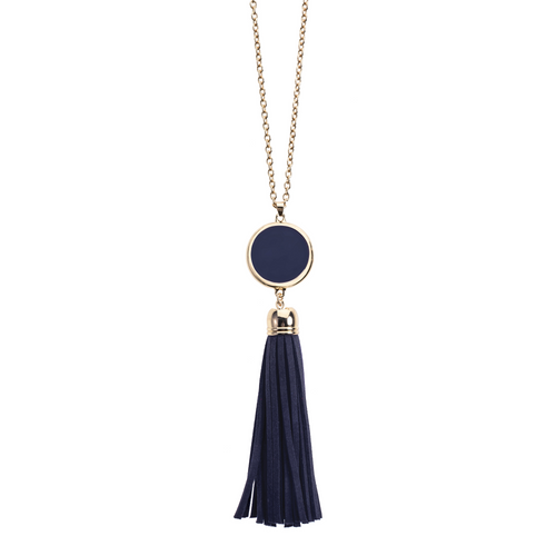 Navy Blue suede tassel necklace with gold accents and enamel disk for monogramming.