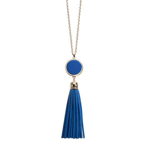 Royal Blue suede tassel necklace with gold accents and enamel disk for monogramming.