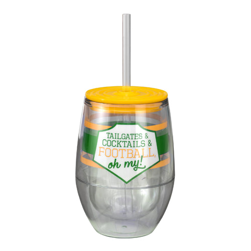 "Green/Yellow 12oz Acrylic Stemless Wine Cup - ""Tailgates & Cocktails & Football, Oh My!"""