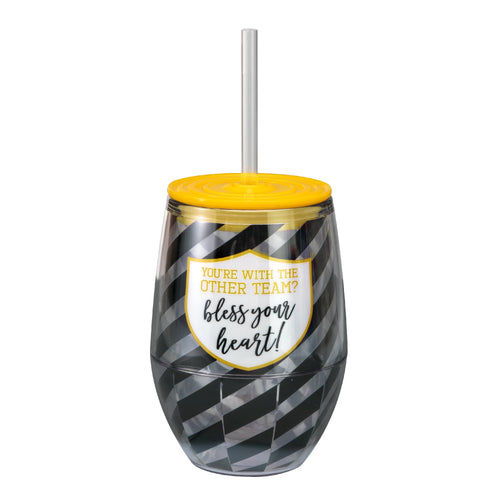 "Black/Yellow 12oz Acrylic Stemless Wine Cup - ""You're With the Other Team? Bless Your Heart!"""