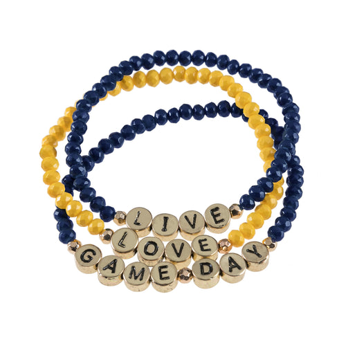 "Set of 3 royal blue and orange beaded stretch bracelets with gold beads that say ""live, laugh, gameday."""