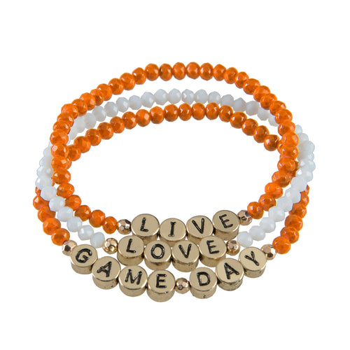 "Set of 3 maroon and orange beaded stretch bracelets with gold beads that say ""live, laugh, gameday."""