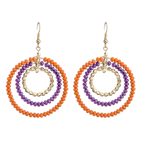 Orange, purple and gold beaded triple hoop earrings