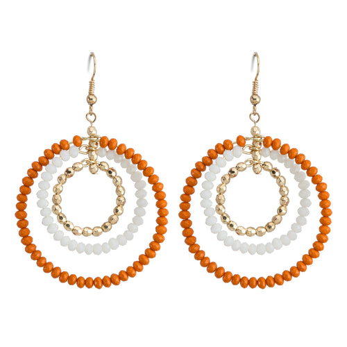 Orange, white and gold beaded triple hoop earrings