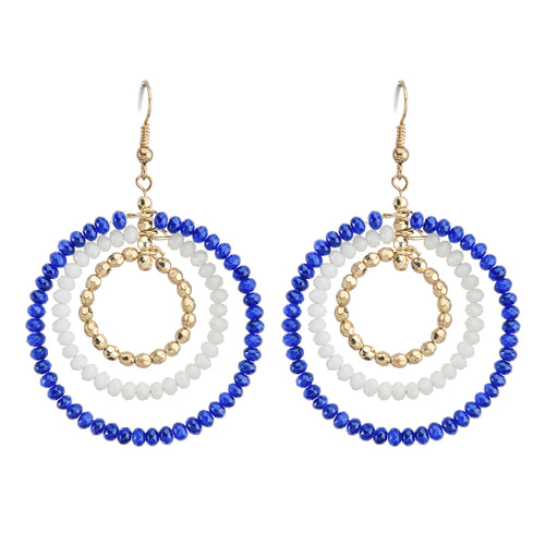 Royal Blue, white and gold beaded triple hoop earrings
