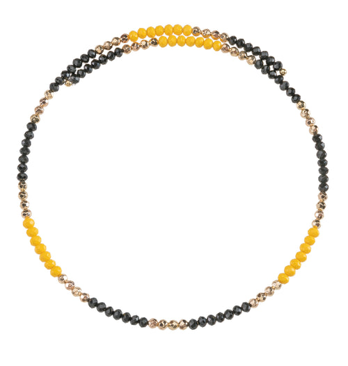 Black and yellow beaded wire choker necklace with gold accent beads.