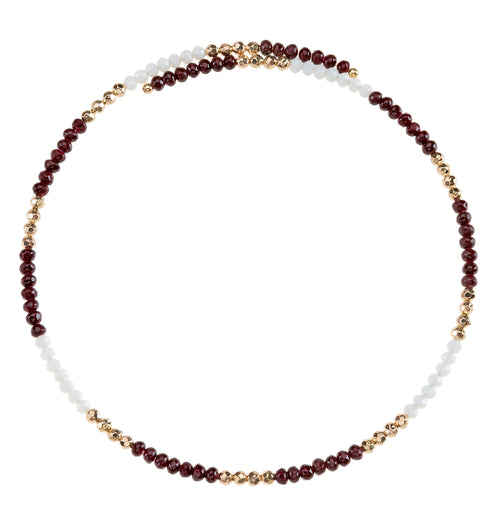 Maroon and white beaded wire choker necklace with gold accent beads.