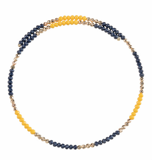 Navy Blue and yellow beaded wire choker necklace with gold accent beads.