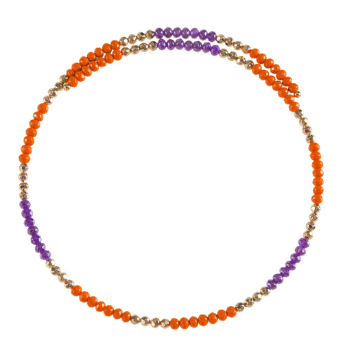Orange and purple beaded wire choker necklace with gold accent beads.