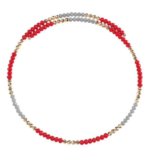 Red and grey beaded wire choker necklace with gold accent beads.