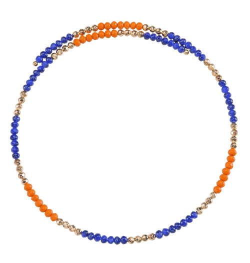 Royal Blue and orange beaded wire choker necklace with gold accent beads.