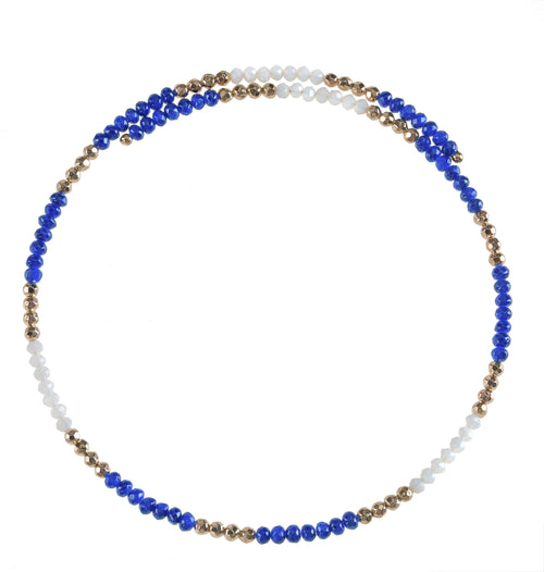 Royal Blue and white beaded wire choker necklace with gold accent beads.