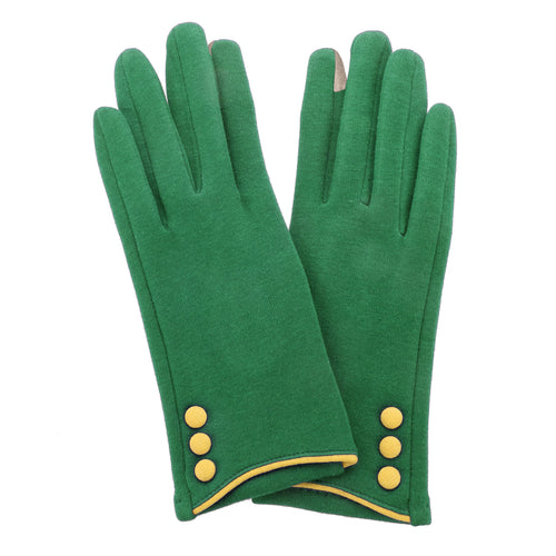 Green, smart screen fingertip gloves with yellow buttons and trim.