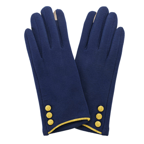 Navy Blue, smart screen fingertip gloves with yellow buttons and trim.