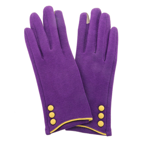 Purple, smart screen fingertip gloves with yellow buttons and trim.