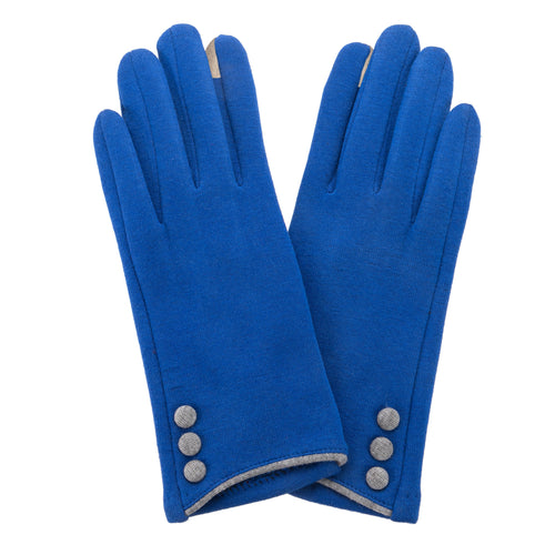 Royal Blue, smart screen fingertip gloves with grey buttons and trim.