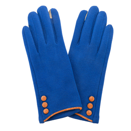 Royal Blue, smart screen fingertip gloves with orange buttons and trim.