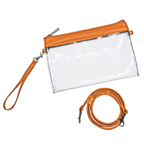 Clear stadium approved zipper pouch with orange trim and comes with one wristlet strap and one shoulder strap.