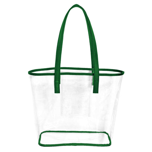 Clear stadium approved tote bag with green handles and trim and an inner pocket to hold phone, cash and cards.
