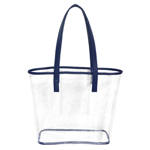 Clear stadium approved tote bag with navy blue handles and trim and an inner pocket to hold phone, cash and cards.