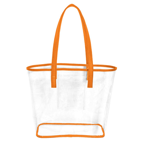 Clear stadium approved tote bag with orange handles and trim and an inner pocket to hold phone, cash and cards.