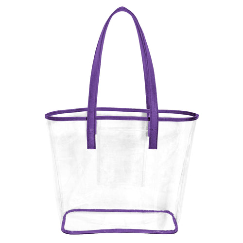 Clear stadium approved tote bag with purple handles and trim and an inner pocket to hold phone, cash and cards.
