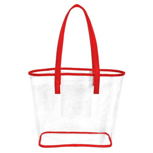 Clear stadium approved tote bag with red handles and trim and an inner pocket to hold phone, cash and cards.
