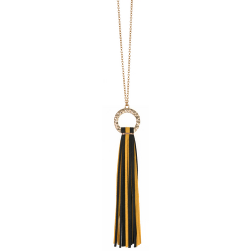 Black and Yellow suede tassel necklace with gold hammered hoop and nickel free
