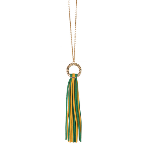 Green and Yellow suede tassel necklace with gold hammered hoop and nickel free