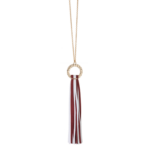 Maroon and White suede tassel necklace with gold hammered hoop and nickel free