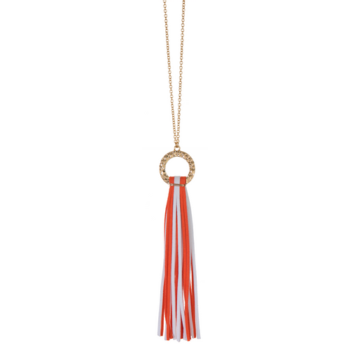 Orange and White suede tassel necklace with gold hammered hoop and nickel free