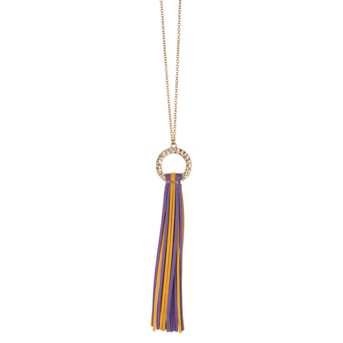 Purple and Yellow suede tassel necklace with gold hammered hoop and nickel free