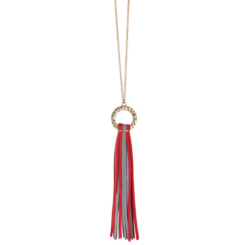 Red and Grey suede tassel necklace with gold hammered hoop and nickel free