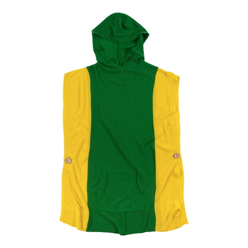 Green and yellow hooded poncho with a front pocket, one size fits most.