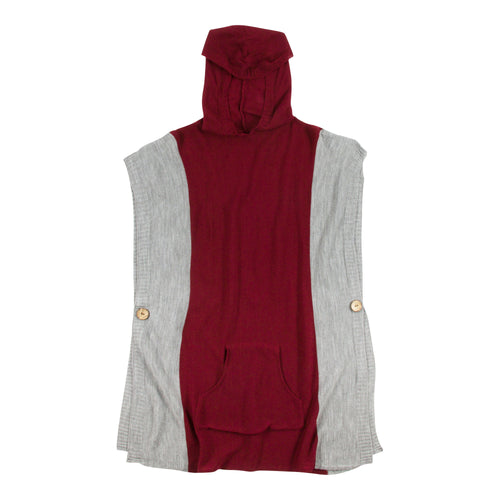 Maroon and white hooded poncho with a front pocket, one size fits most.