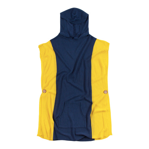 Navy Blue and yellow hooded poncho with a front pocket, one size fits most.