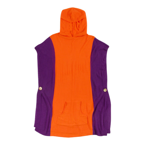 Orange and purple hooded poncho with a front pocket, one size fits most.