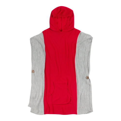 Red and grey hooded poncho with a front pocket, one size fits most.