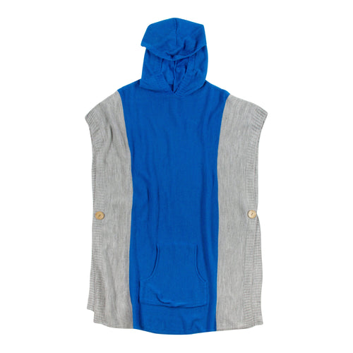 Royal Blue and white hooded poncho with a front pocket, one size fits most.