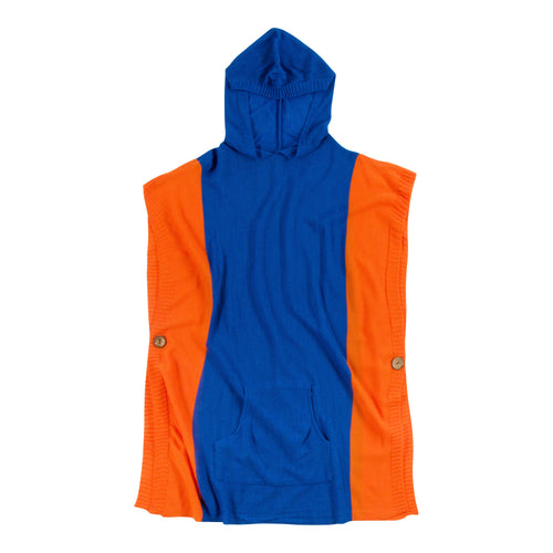 Royal Blue and orange hooded poncho with a front pocket, one size fits most.