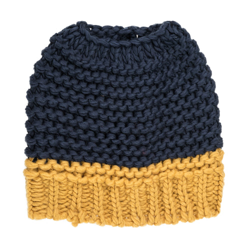 Navy Blue and yellow knitted bun hat.