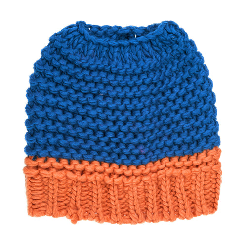 Royal Blue and orange knitted bun hat.