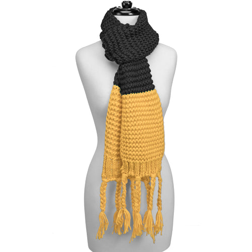 Black and yellow knitted fringe scarf.