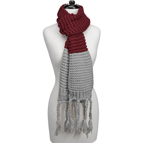 Maroon and light grey knitted fringe scarf.