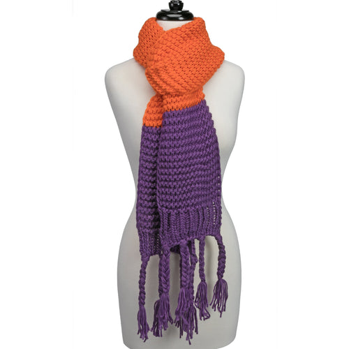 Orange and purple knitted fringe scarf.