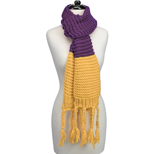 Purple and yellow knitted fringe scarf.