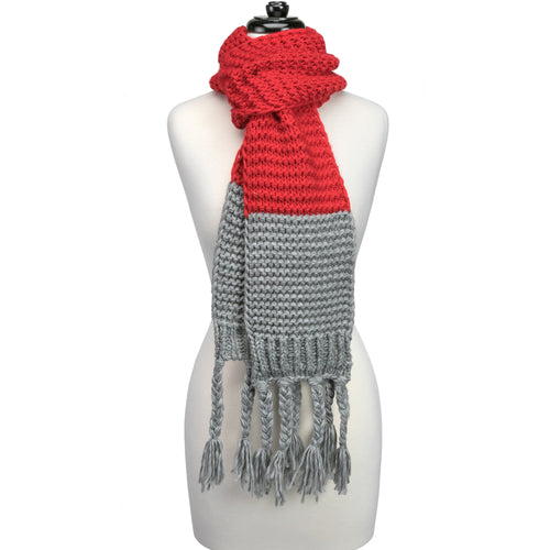 Red and grey knitted fringe scarf.
