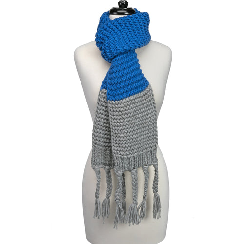 Royal Blue and light grey knitted fringe scarf.