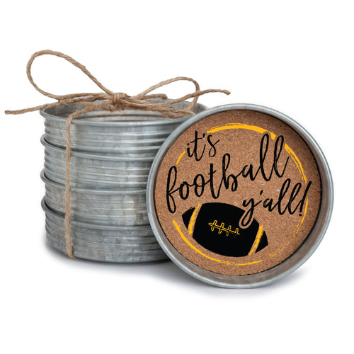 "Set of 4 galvanized metal mason jar lid with cork insert coasters with the quote ""It's Football, Y'all!"" in black and yellow."