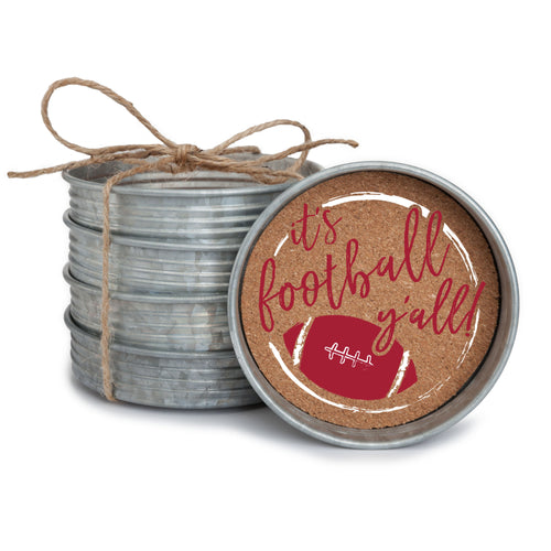 "Set of 4 galvanized metal mason jar lid with cork insert coasters with the quote ""It's Football, Y'all!"" in crimson and white."